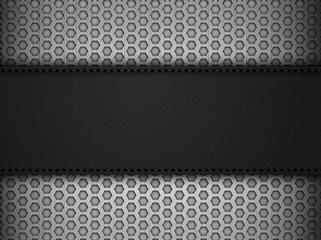 Black leather panel on black mesh landscape