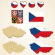 Czech Republic Map blank and regional, Vector 3D pack