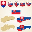 Slovakia Map blank and regional, Vector 3D pack