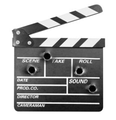 Movie clapper board with bullet holes