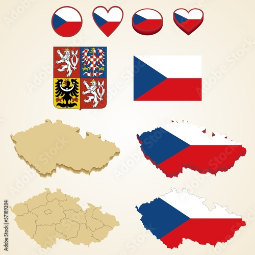 Czech Republic Map blank and regional, Vector 3D pack