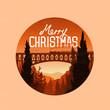 Vintage merry christmas landscape Vector