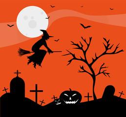 illustrazione con strega per halloween