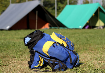 backpack in the campsite