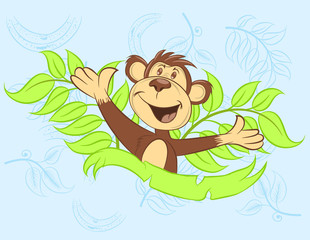 Illustration vector of cute monkey
