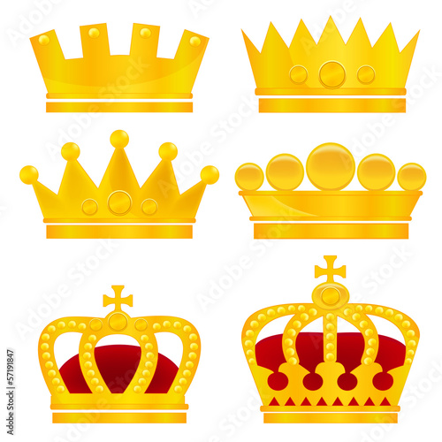Set of gold crowns on white background