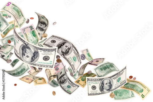 Heap of falling american dollars isolated on white