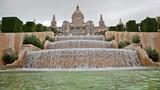 Fountain on Placa De Espanya, before National Museum in Barcelon poster