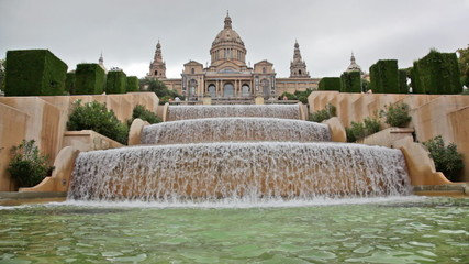 Fountain on Placa De Espanya, before National Museum in Barcelon