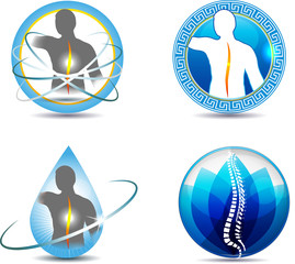 Human back, vertebral column health care symbols