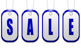 Sale sign in the form of coins in blue