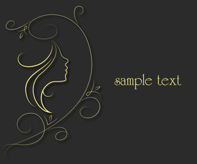 profile of girl and floral pattern for the vector