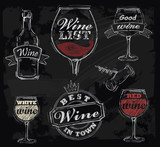 vector chalk wine - 57192854