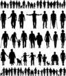 Editable vector silhouettes of people walking hand in hand