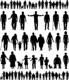 Fototapety Editable vector silhouettes of people walking hand in hand