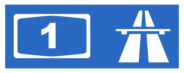 Zeichen Symbol Autobahn mit Reflektierung