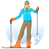 Girl with skis on the winter background