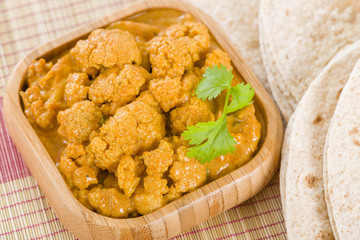 Gobi Masala - Cauliflower curry served with chapatis.