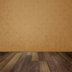 Vintage interior. Empty room with retro wallpaper and wooden flo