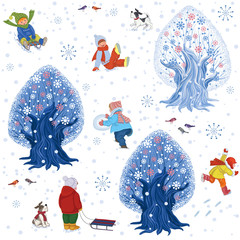 Seamless pattern with children outdoors in winter time