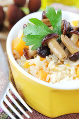 Delicious homemade pumpkin risotto with brown mushrooms