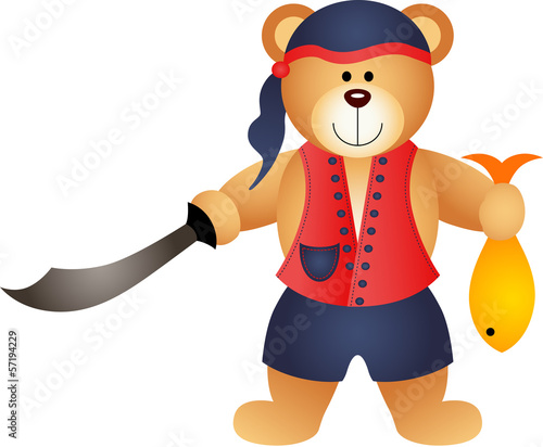 Teddy Bear Pirate with Sword and Fish