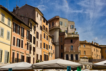 Buildings architecture in Piazza Campo de Fiori, Rome, Italy