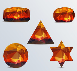 Geometric shapes. Set of luminous rubies