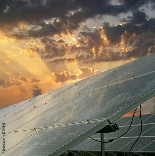 Solar power plant. Renewable, alternative solar energy.