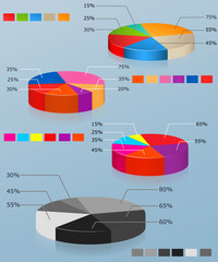 Pie charts. Set of of multi-colored pie chart. Business infograp