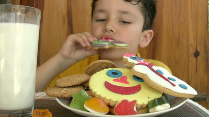 Child eating yummy cookies and drinking milk