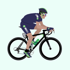 Vector Deep-Blue Green racing cyclist illustration