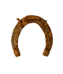 old rusty horseshoe isolated on white background