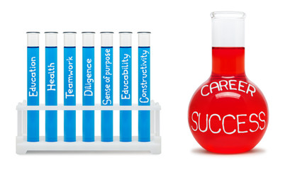 Formula of career success. Concept with blue and red flasks.