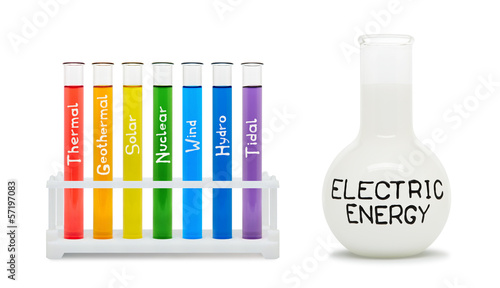 Formula of electricity. Concept with colored flasks.