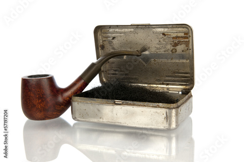 Antique pipe with shag box isolated in white