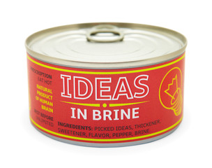 Concept of creativity. Tin can.