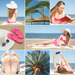 collage of beautiful summer holiday photos with young woman