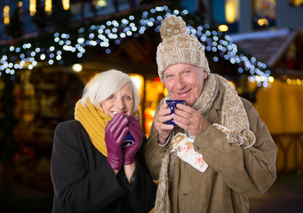 senior love couple on x mas market