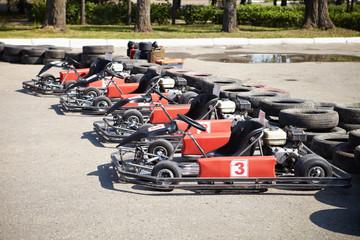 Kart Racing. Cars at pit stop.