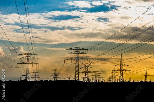 słup linii wysokiego napięcia, elektrownia - 57200047