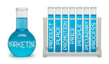 Concept of marketing. Cyan flasks.