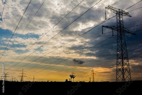 słup linii wysokiego napięcia, elektrownia - 57200427