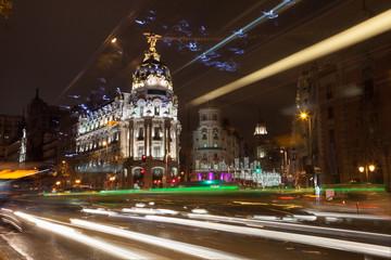 Gran Via street in Madrid at night, Spain