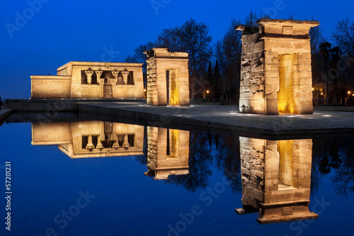 Debod. Egyptian temple in the city of Madrid at night, Spain.
