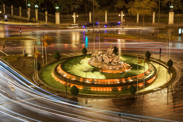 Bird view of Cibeles fountain rounded of traffic lights, Madrid