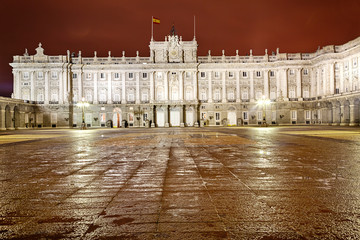 Royal Palace of Madrid at night. Main court