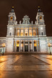 Santa Maria la Real de La Almudena in Madrid at night