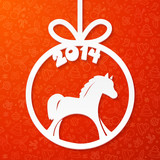 White paper Christmas ball with horse and year