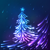 Vector shining lights blue neon christmas tree